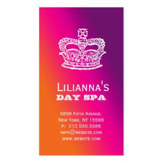 Fashion Crown Salon Spa Purple Orange Business Cards
