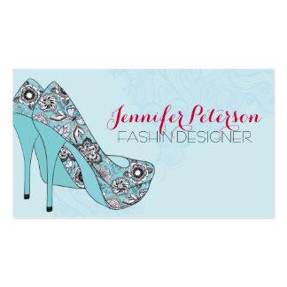 Fashion Designer Elegant Floral Stiletto Shoes 2 Pack Of Standard Business Cards