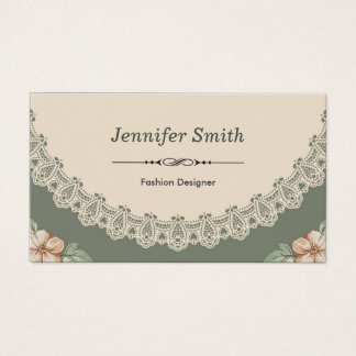 Fashion Designer - Vintage Chic Floral Business Card