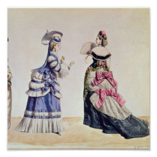 Fashion designs for women from the 1860's poster