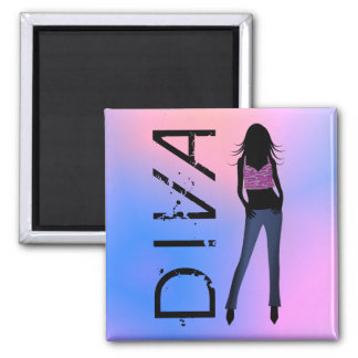 Fashion Diva in Blue Jeans Custom Square Magnets