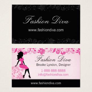 Fashion Diva Woman Silhouette Business Card