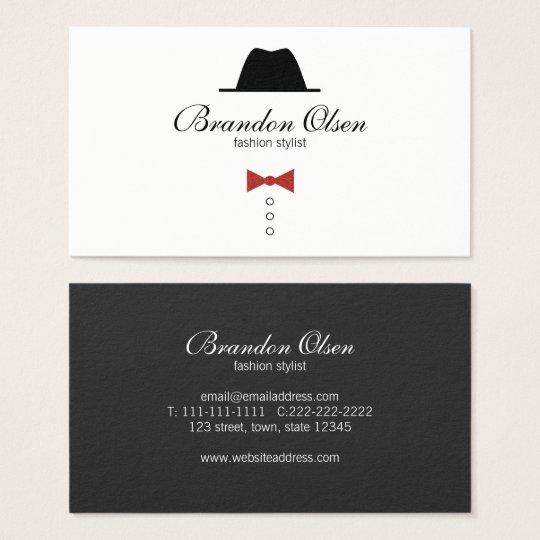Fashion Elegant Glamour Retro Male Minimal Stylist Business Card