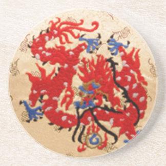 Fashion Fabric - Native Embroidery on Satin Silk Beverage Coasters