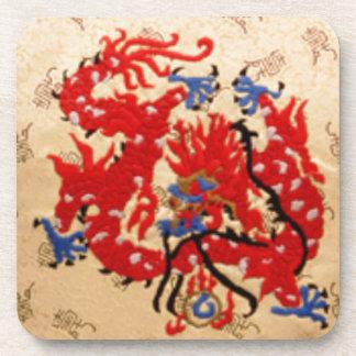 Fashion Fabric - Native Embroidery on Satin Silk Drink Coasters