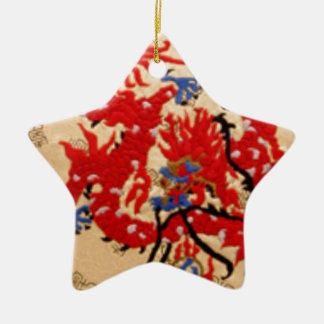 Fashion Fabric - Native Embroidery on Satin Silk Double-Sided Star Ceramic Christmas Ornament