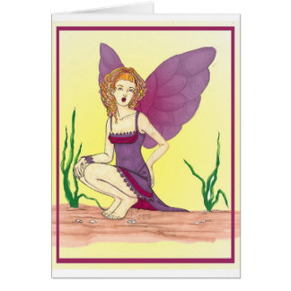fashion fairy with purple and burgandy dress card