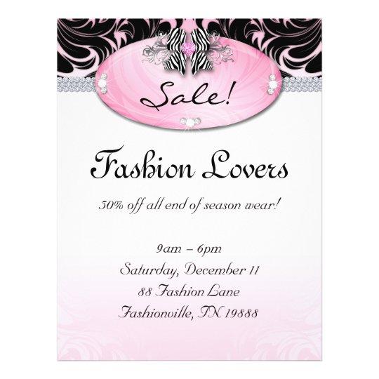 Fashion Flyer Hair Salon Jewellery Zebra Bow Pink