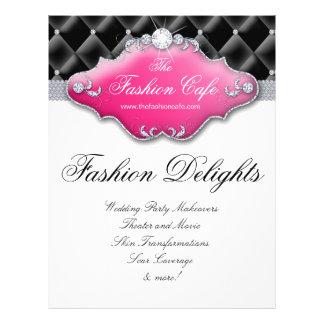 Fashion Flyer Hair Salon Satin Diamonds Black Pink