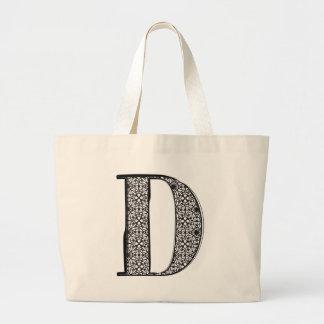Fashion font, Letter D Large Tote Bag