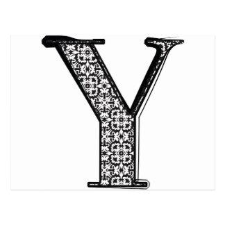 Fashion font Letter Y Postcard