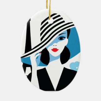 Fashion french stylish fashion chic illustration ceramic oval decoration