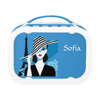 Fashion french stylish fashion chic illustration lunch box