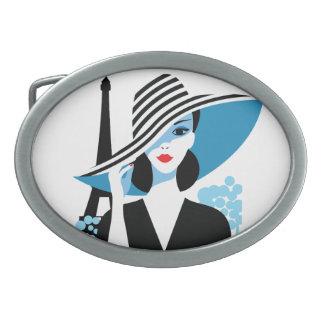 Fashion french stylish fashion chic illustration oval belt buckles