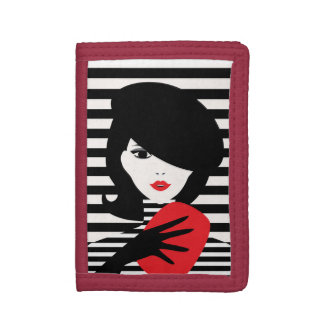 Fashion french stylish fashion illustration trifold wallet