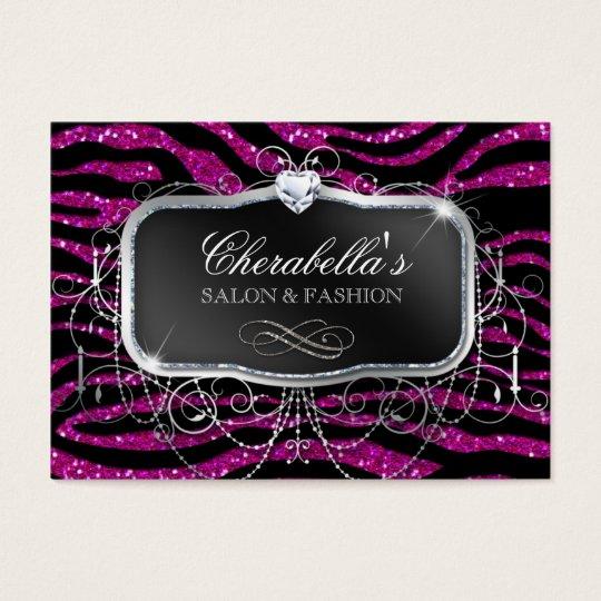 Fashion Gift Card Salon Zebra Glitter Silver Pink