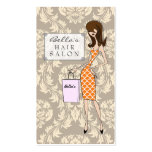 Fashion Girl 1 Damask Hair Salon Appointment Cards