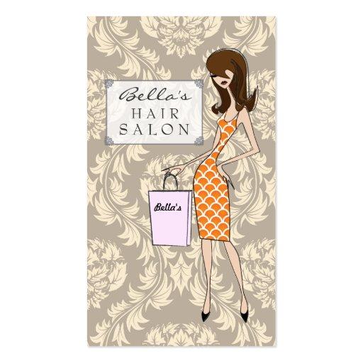 Fashion Girl 1 Damask Hair Salon Appointment Cards Business Card