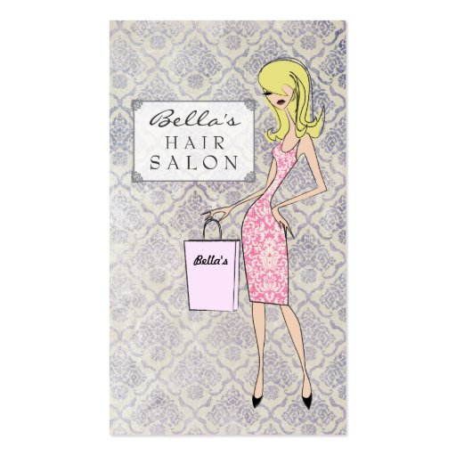 Fashion Girl 2 Damask Hair Salon Appointment Cards Business Cards
