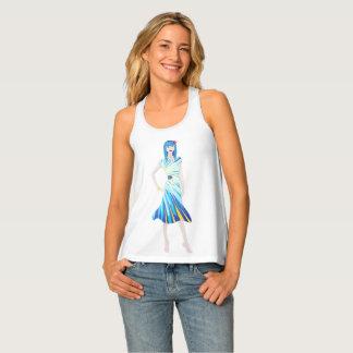 Fashion girl blue frozen tank top