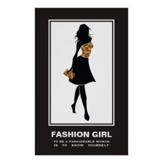 Fashion girl brown leopard print poster