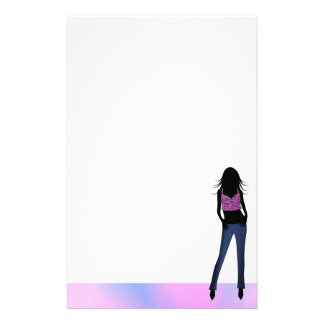 Fashion Girl in Blue Jeans Stationery Writing Pape