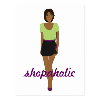 Fashion Girl in Green Shopaholic Card Postcard