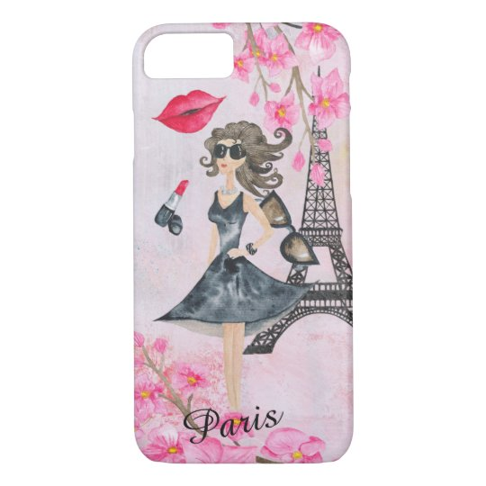 Fashion Girl in Paris Editable Phonecase iPhone 8/7