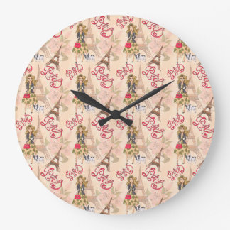 Fashion Girl in Paris Pattern Large Clock