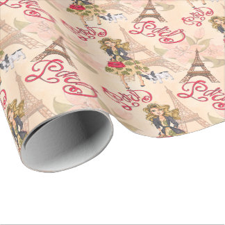 Fashion Girl in Paris Pattern Wrapping Paper