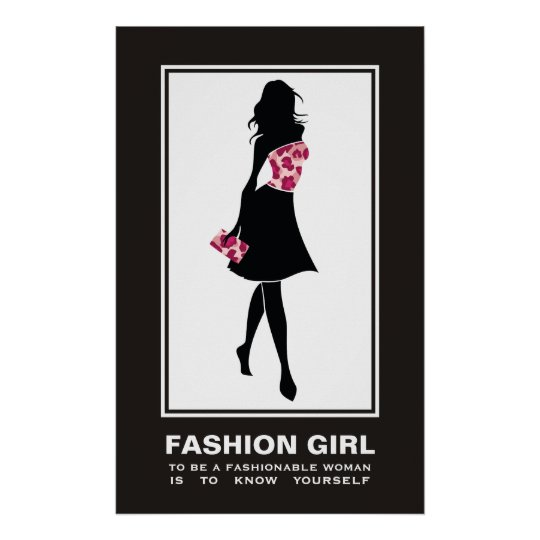 Fashion girl pinkleopard print poster