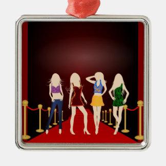 Fashion Girls Red Carpet Premium Square Ornament