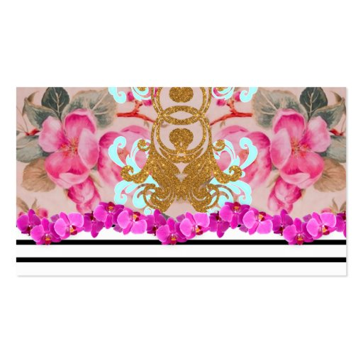 Fashion Girly Pink Floral Trendy Stripes Pattern Business Cards