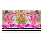 Fashion Girly Pink Floral Trendy Stripes Pattern Pack Of Standard Business Cards