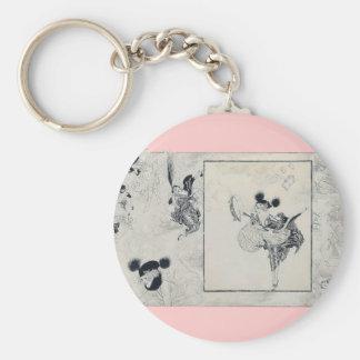 Fashion glamour ladies basic round button key ring