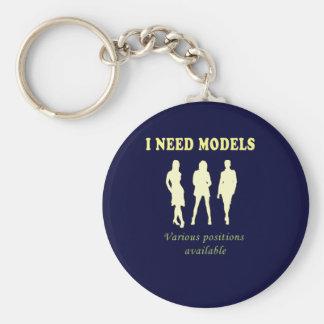 Fashion glamour models basic round button key ring