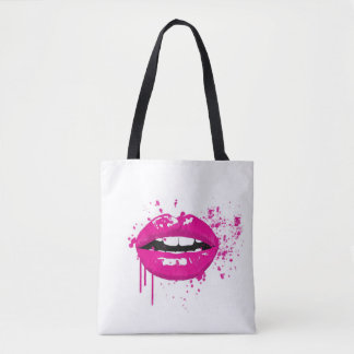 Fashion glamour trendy pink lips tote bag