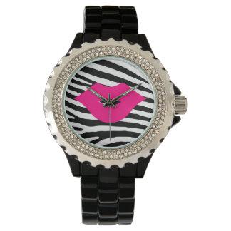 Fashion glamour trendy pink lips zebra girly watches