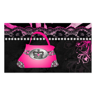 Fashion Handbag Crown Purse Pink Lace Zebra Business Card