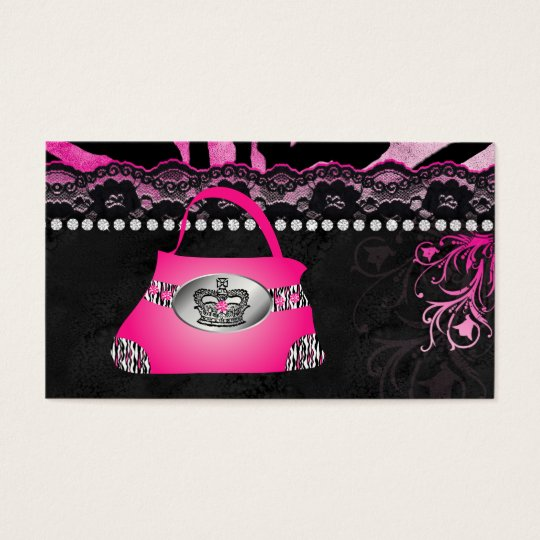 Fashion Handbag Crown Purse Pink Lace Zebra Business