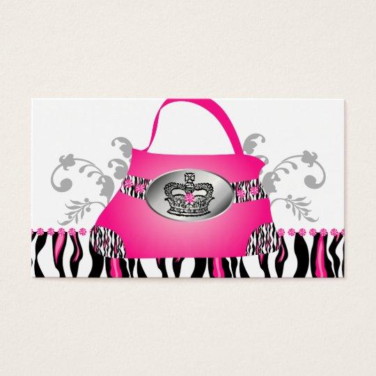 Fashion Handbag Crown Purse Pink Zebra Floral Business Card