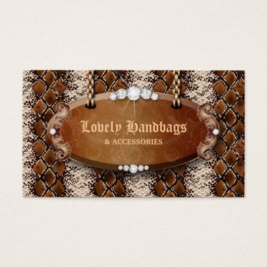 Fashion Handbag Purse Leather Snakeskin Brown Business Card