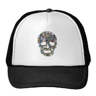 fashion hat with colorful skull trucker hat