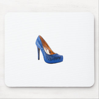 Fashion High Heel Shoe Blue add Text Mouse Pad