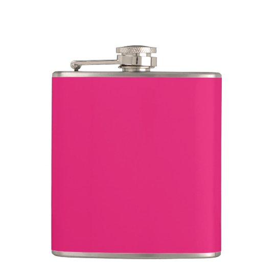 Fashion Hot Pink Personalised Colour Background Hip Flask