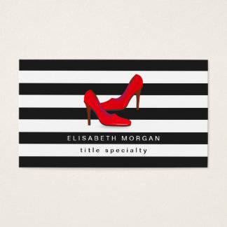 Fashion Hot Red High Heels Shoes - Classic Stripes