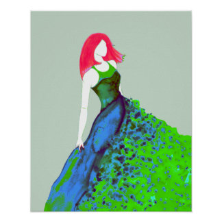 Fashion Illustration - Green-Blue Gown Poster