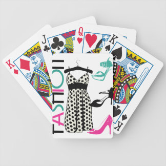 Fashion in Black and White Dots Bicycle Playing Cards