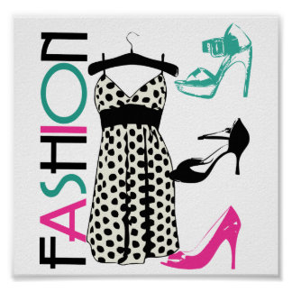 Fashion in Black and White Dots Poster