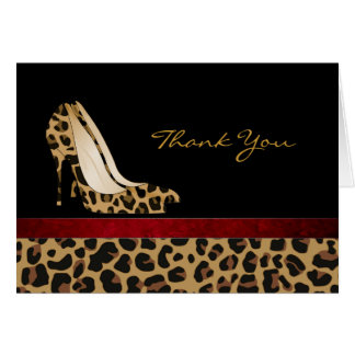 Fashion Jaguar Pattern Stiletto Thank You Card